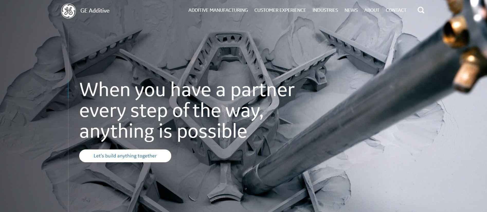 Screencap Additive bedrijfsunit pagina van merk archetype magician voorbeeld General Electric