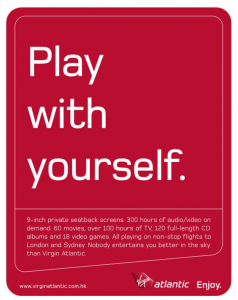Outlaw merk archetype: gewaagde reclame van Virgin Atlantic.