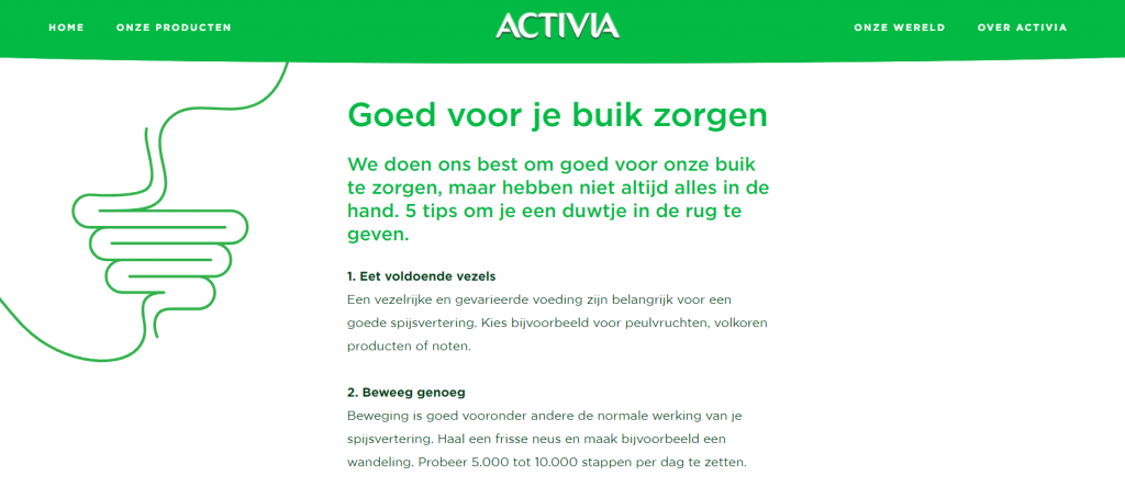 Marketing van een Caregiver merk archetype zoals Activia